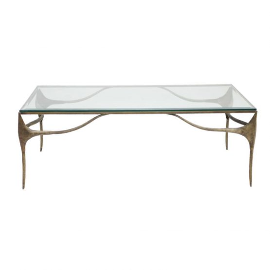 Antiqued Brass And Glass Coffee Table