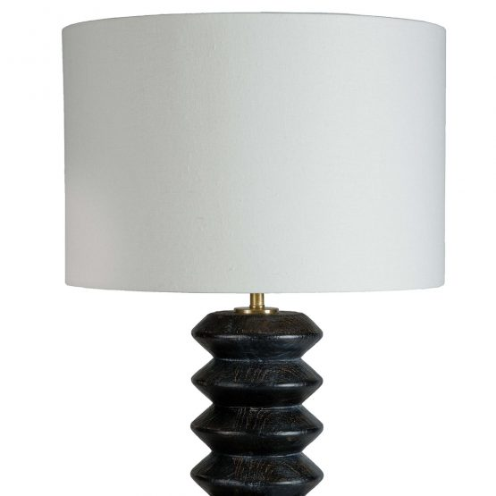Black Wood Accordion Shaped Table Lamp