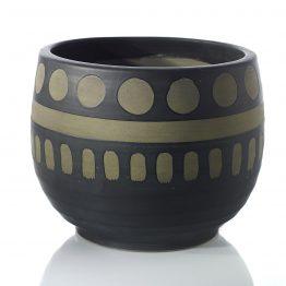 Black and brown ceramic pot