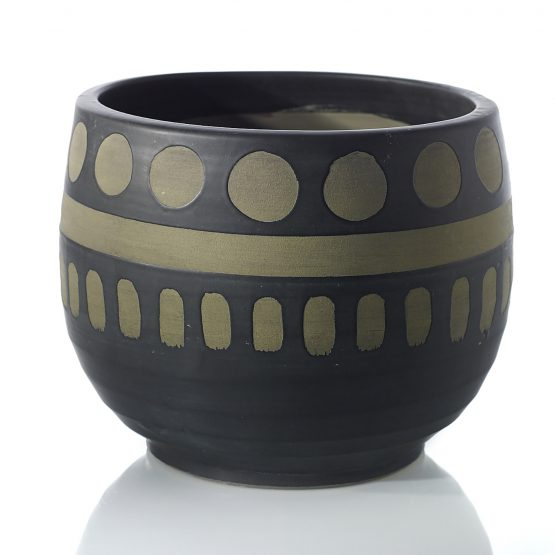 Black and brown ceramic pot