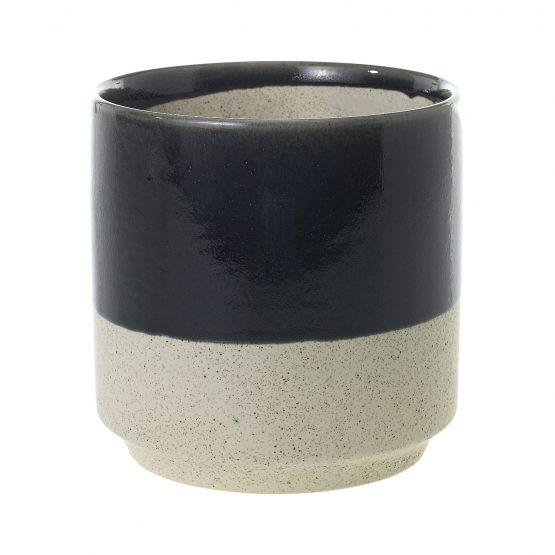 Black and natural speckled ceramic pot