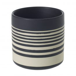 Black and white striped stoneware pot