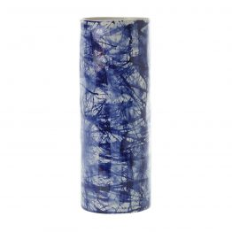 Blue and white stoneware vase
