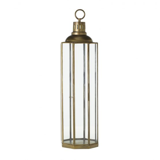 Brass and glass hexagon lantern