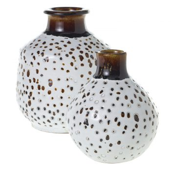 Brown and white spotted glazed terracotta vase