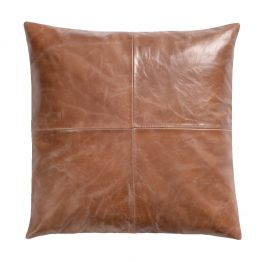 Camel colored leather throw pillow