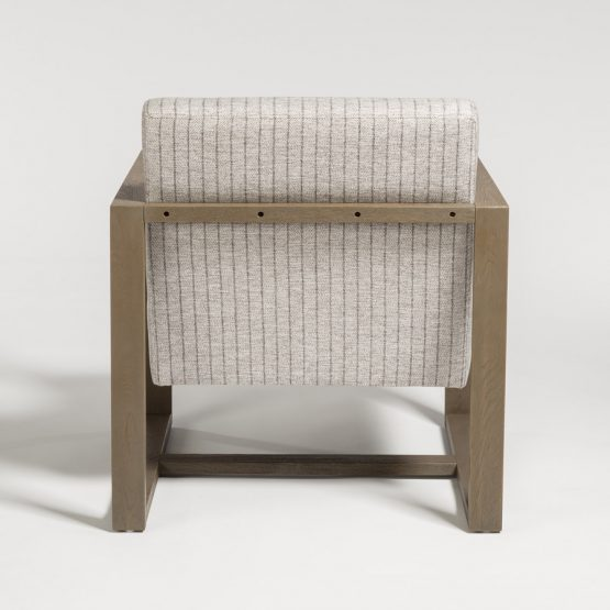 Contemporary Gray Pinstripe Driftwood Occasional Chair