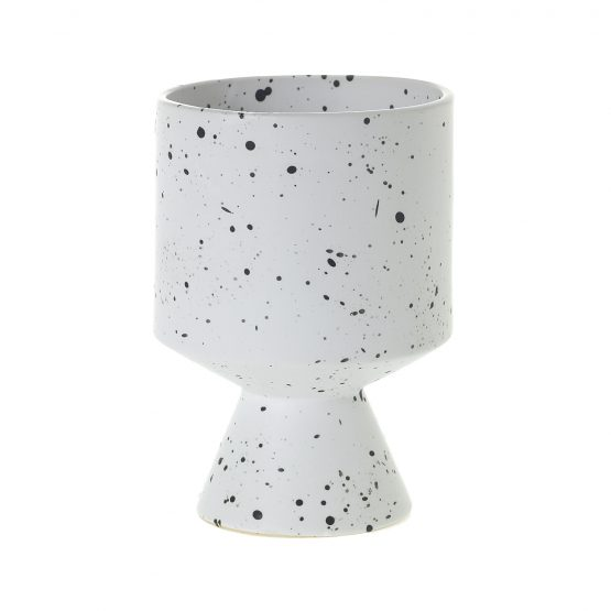 Mod black and white speckled pot