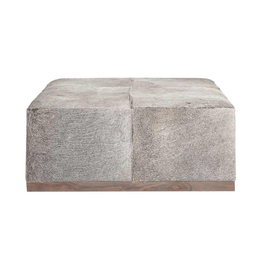 Oversized Gray Leather Hyde Ottoman