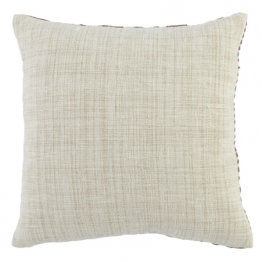 cream and brown embroidered pillow