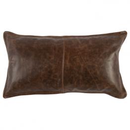 Distressed brown leather lumbar pillow
