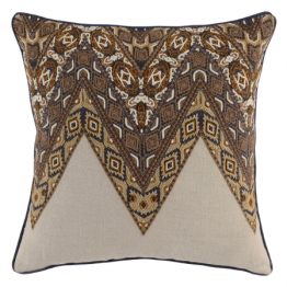 Embroidered and beaded indigo pillow