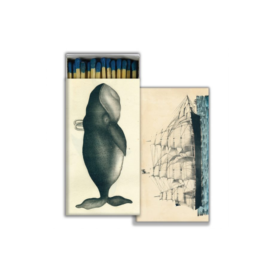 Whale and vintage ship large match box