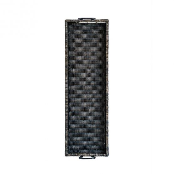 Long black rectangle rattan tray