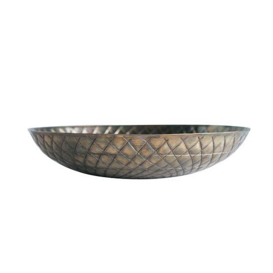 Embossed Antiqued Gold Metal Bowl