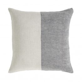 Gray and White half Stripe Linen Pillow