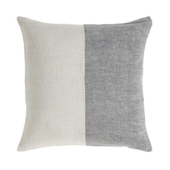 Gray and White half Stripe Linen Pillow