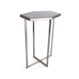 Hexagon Side Table with Silver Base and Black Marble Top