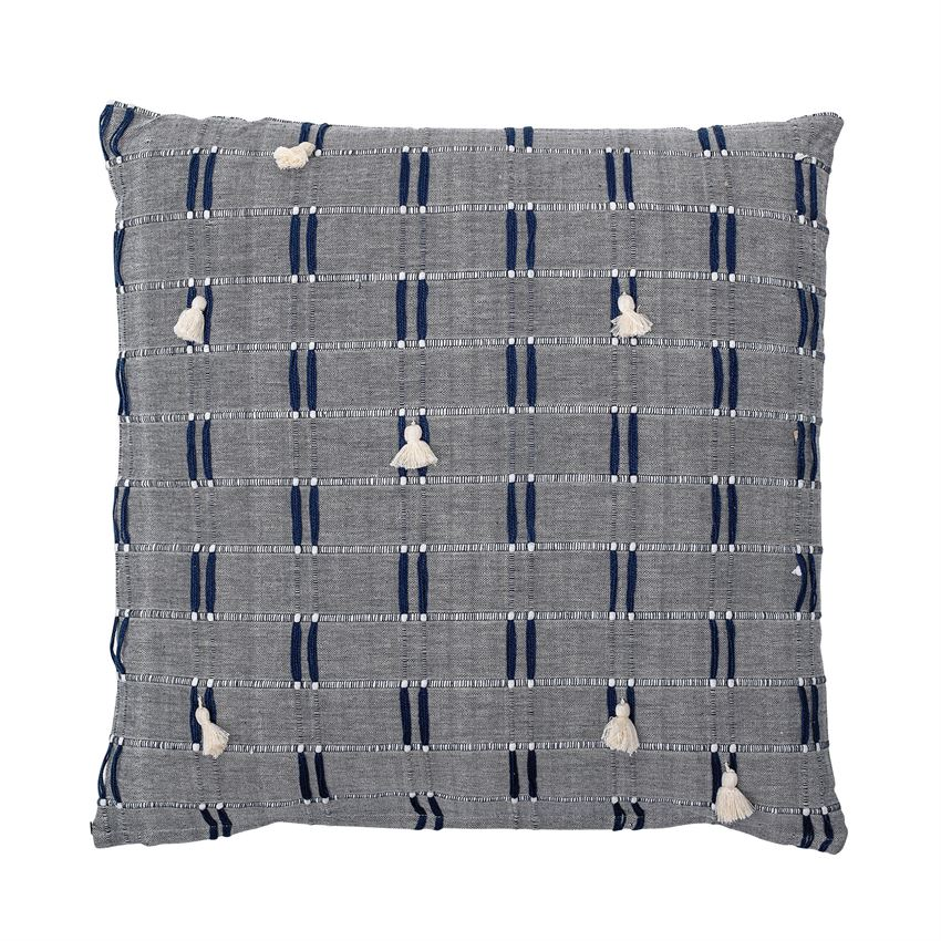 Navy Embroidered Pillow With White Tassels