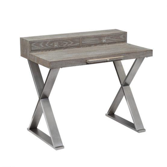 Oak writing desk on silver 'X' base