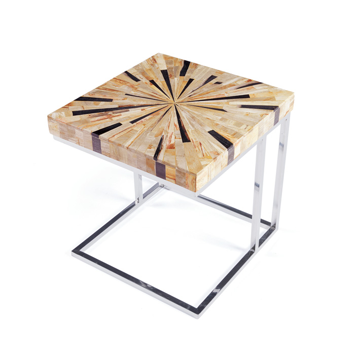 Starburst Wood And Silver Side Table