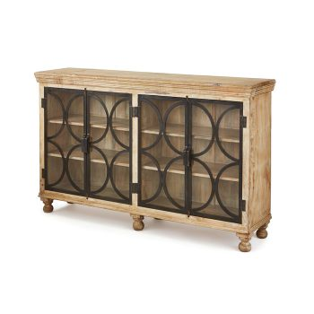 Wood console with black metal and glass doors