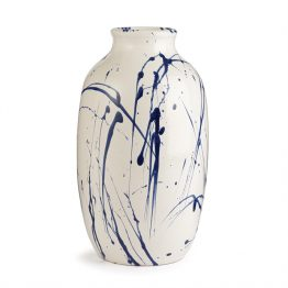 Blue and white splatter paint urn vase