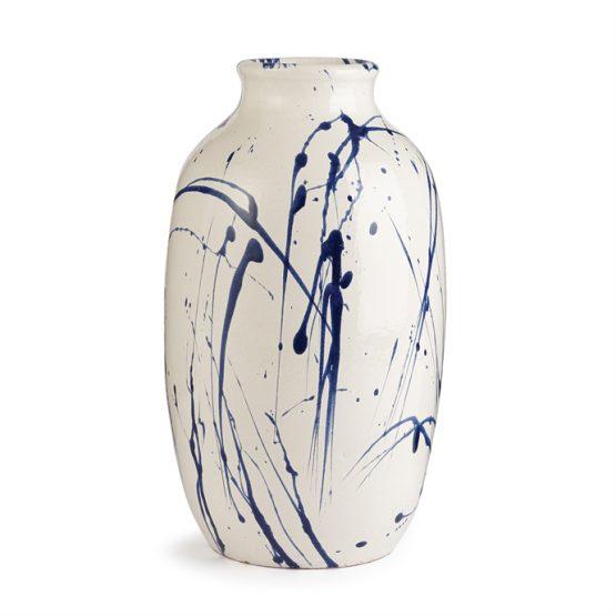 Blue and white splatter paint urn vase