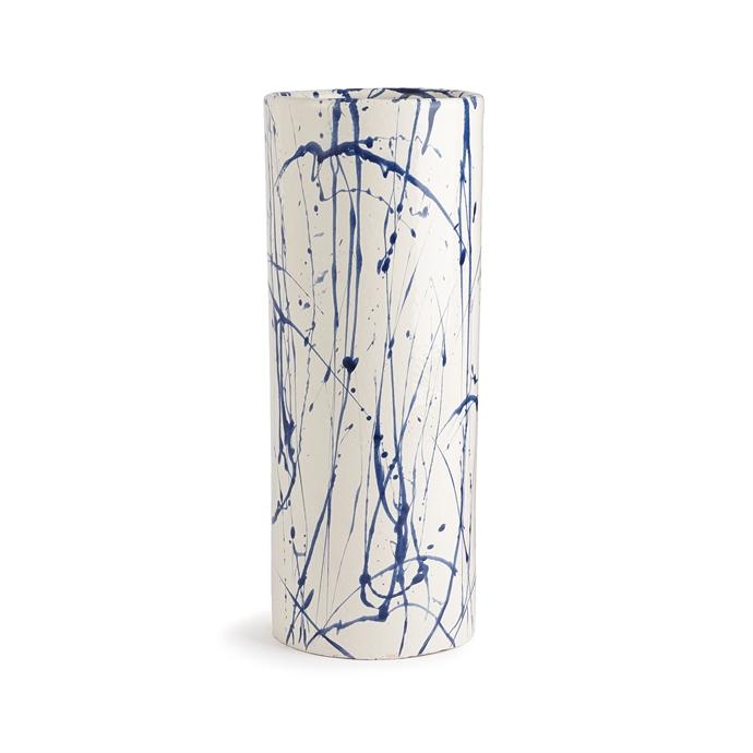 Blue and white splatter paint vase