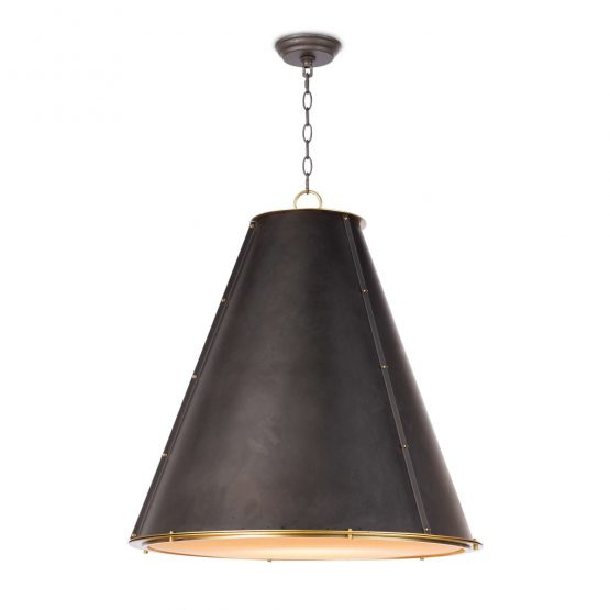 Brass And Black Metal Cone Chandelier