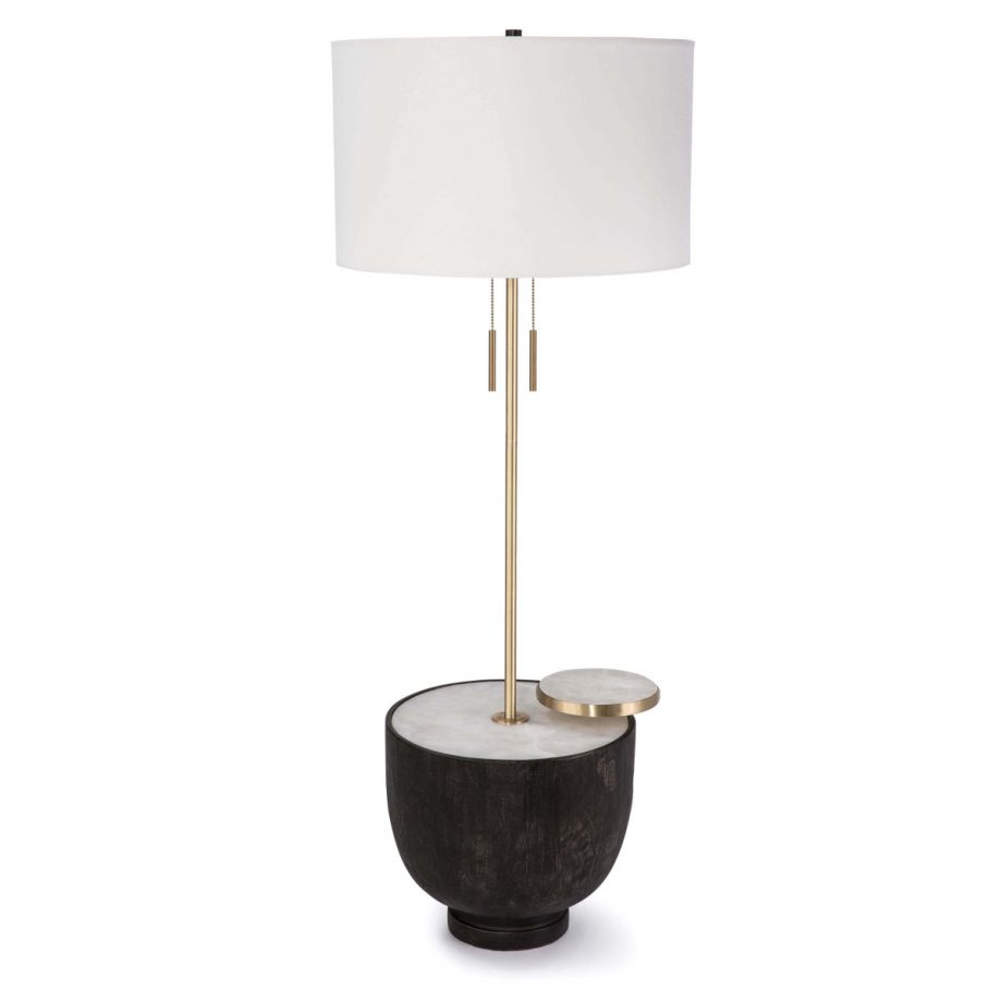 Brass floor lamp on black wood and alabaster table base