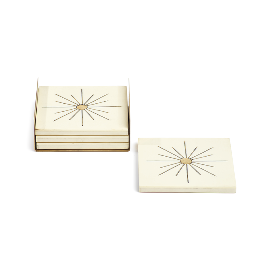 Set Of Ivory Coasters With Brass Sun Inlay