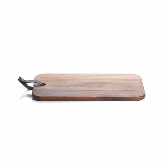 Wood cutting board or cheese board with leather strap