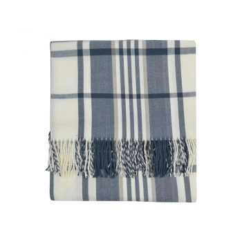 Blue And Tan Plaid Throw