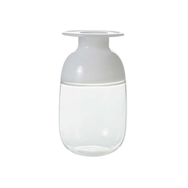 Clear and white glass budvase