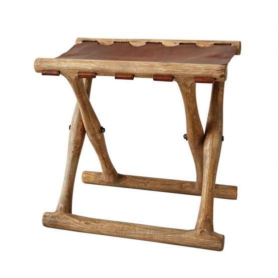 Folding Mango Wood Stool with Leather Seat