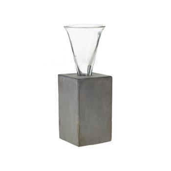Glass Budvase in Concrete Base