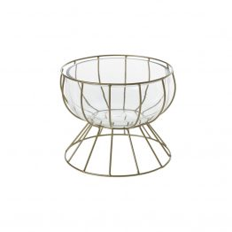 Glass Compote Vase In Brass Wire Stand