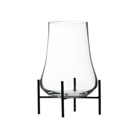 Glass Vase On Black Metal Stand