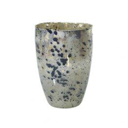 Mercury Glass Vase With Black Splatter Paint