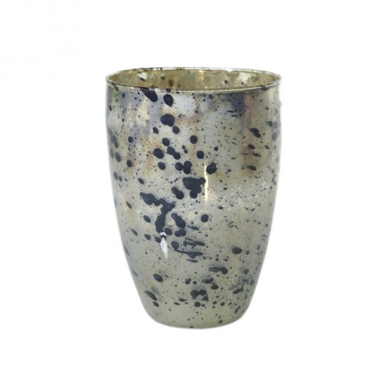 Mercury Glass Vase With Black Splatter Paint