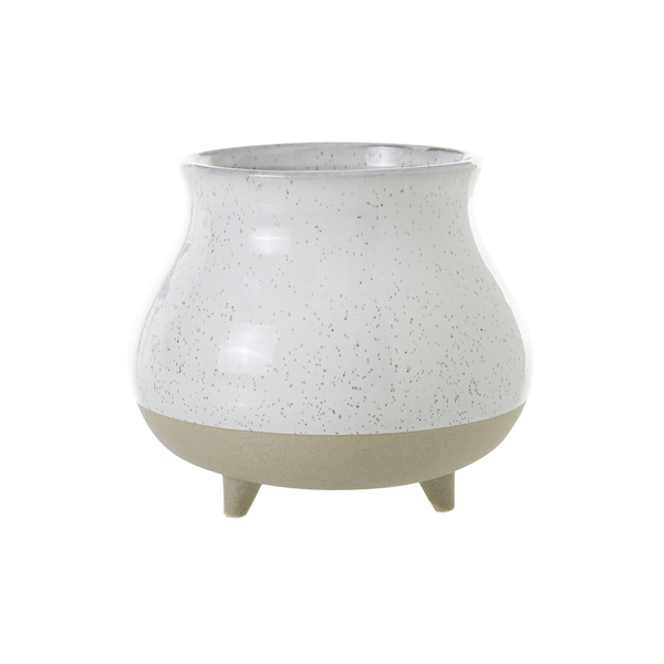 Natural And White Speckled Stoneware Pot On Feet