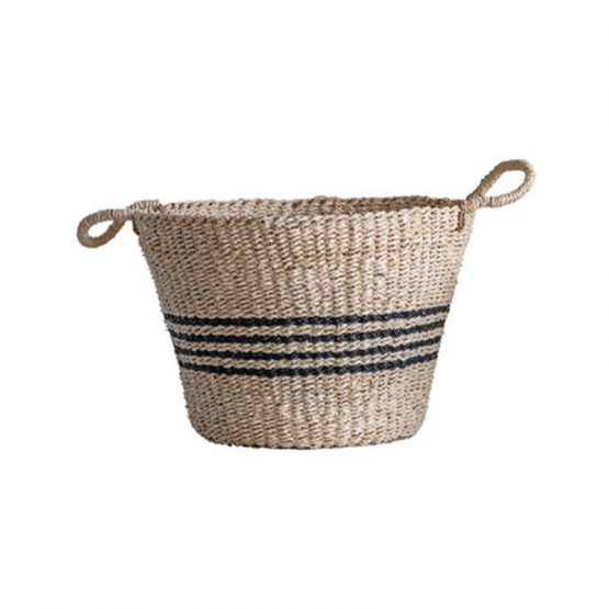 Natural Woven Palm and Seagrass Basket with Black Stripes