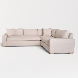 Oatmeal tweed sectional sofa with beechwood legs