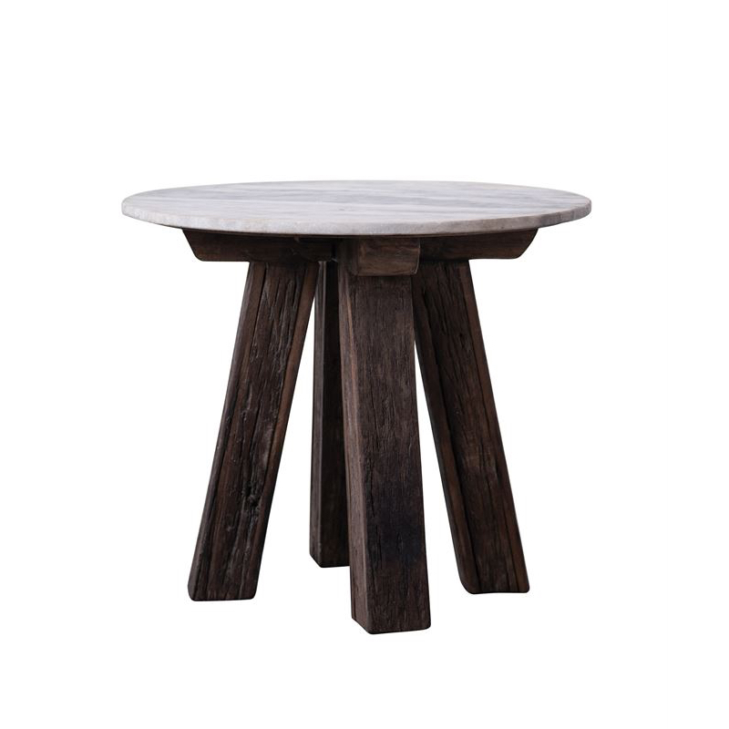 Reclaimed Wood Side Table With White Marble Top