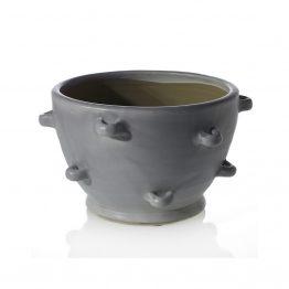 Warm Gray Ceramic Bowl With Knobs