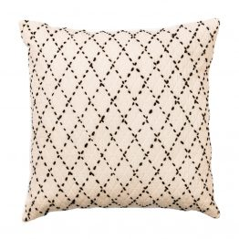 White Pillow with Black Diamond Stitched Pattern