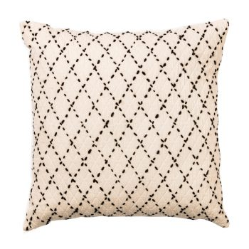 White Pillow with Black Diamond Stitched Pattern