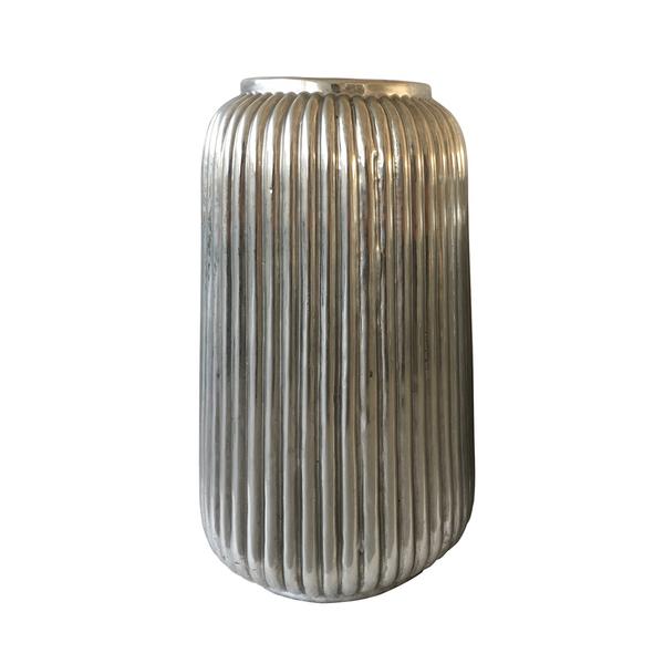 Antiqued Silver Ribbed Ceramic Vase