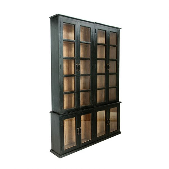 Black Bookcase Cabinet With Wood Back And Glass Doors